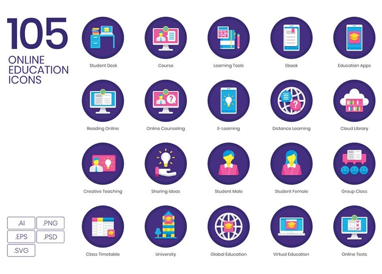 105 Online Education Icons - Orchid Series Iconset Template