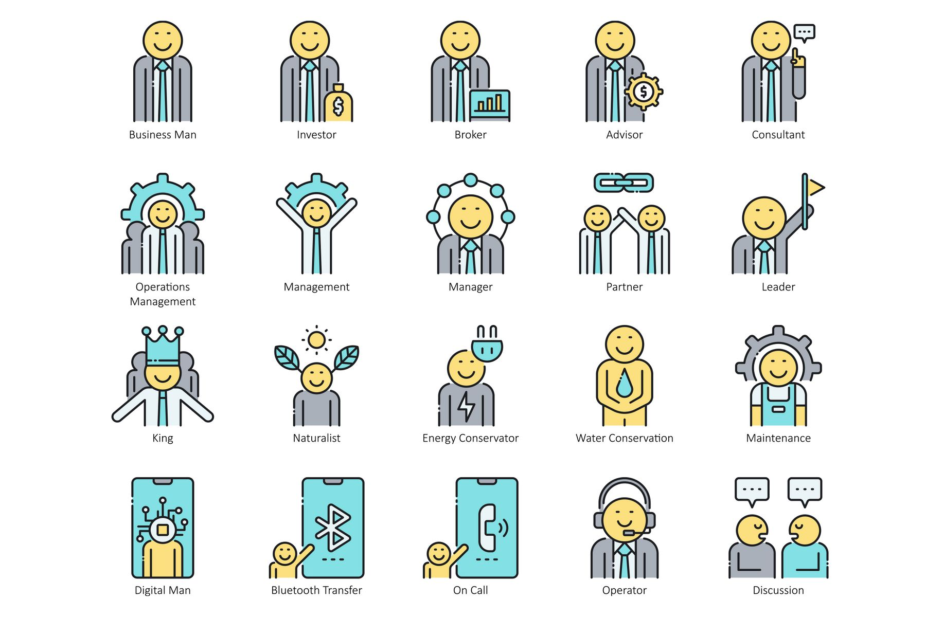95 Business People Icons - Aqua Series Iconset Template