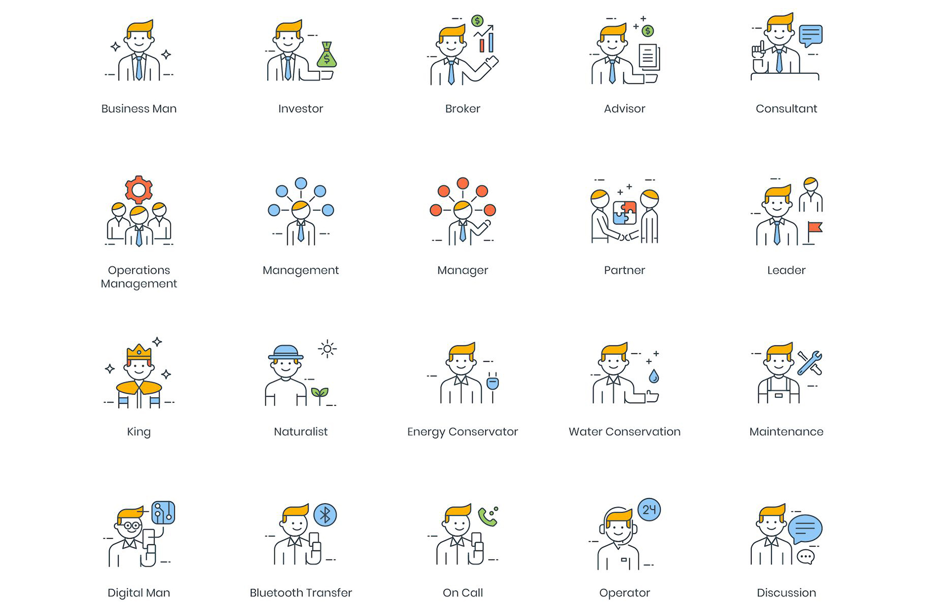 95 Business People Icons - ColorPop Series Iconset Template