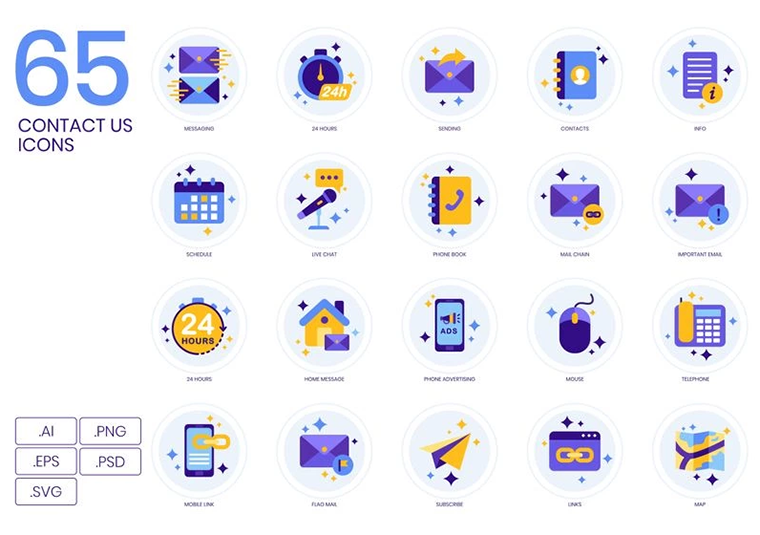 65 Contact Us Icons - Lavender Series Iconset Template