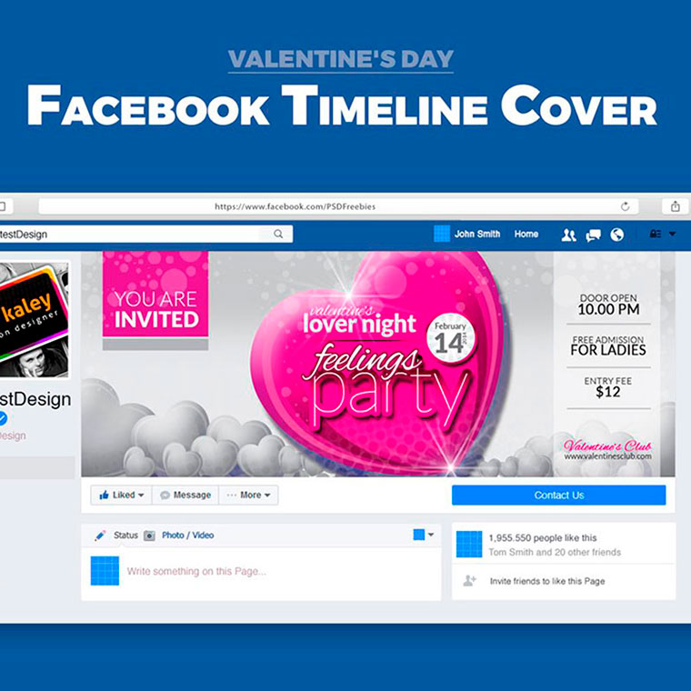 Valentine Party Event Night Club Facebook Timeline Cover Social Media by ContestDesign