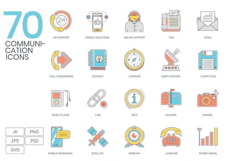 70 Communication Icons - Color Line Series Iconset Template
