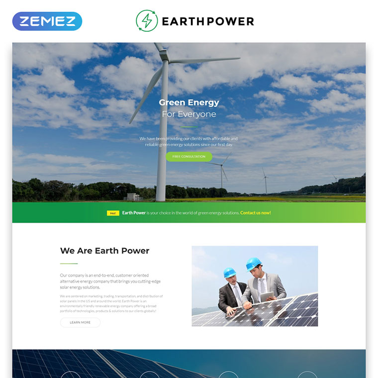 EarthPower - Green Energy HTML5 Landing Page Template by Zemez