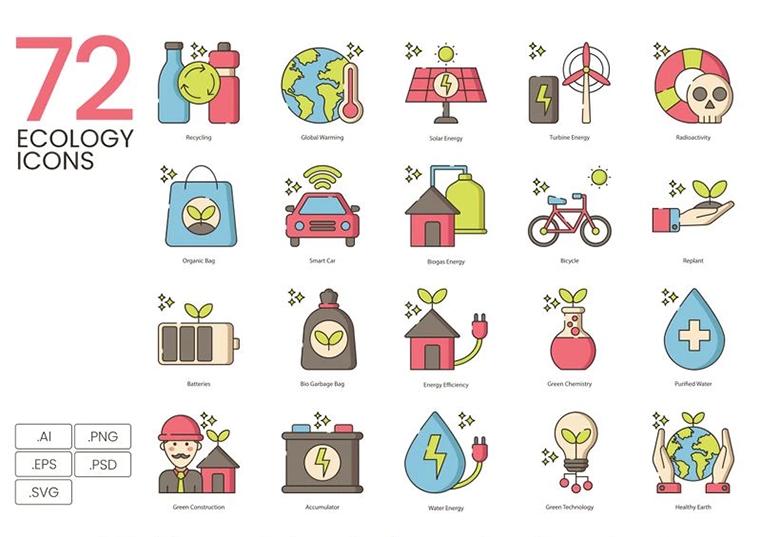 72 Ecology Icons - Hazel Series Iconset Template