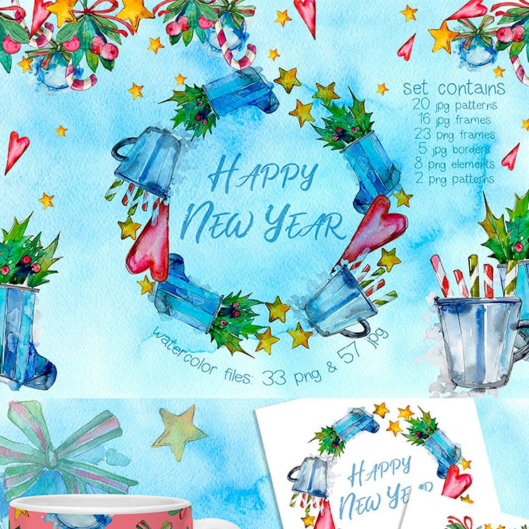 Winter Holiday PNG Watercolor Set by WatercolorPNG
