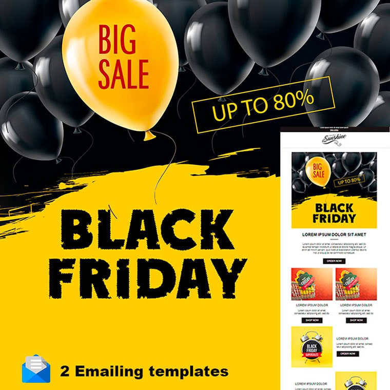 Black Friday Responsive Email + StampReady Builder Newsletter Template by Kreeser
