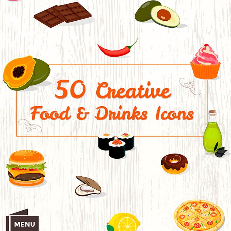 50 Food & Drinks Icons by MotoCMS