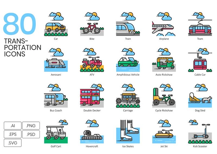 80 Transportation Icons - Aesthetic Series Iconset Template