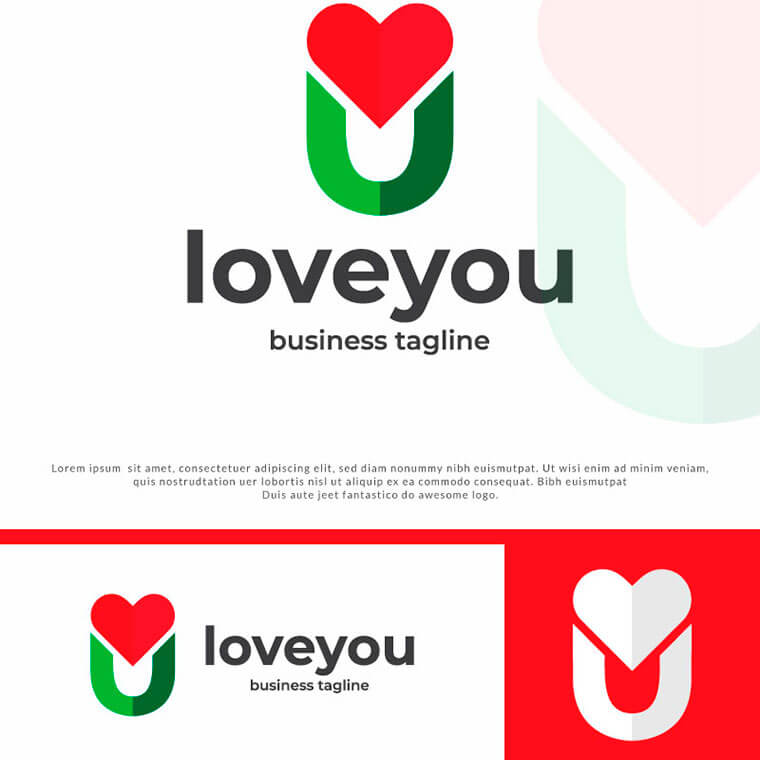 Letter U - Love You Logo Template by Logoxpress