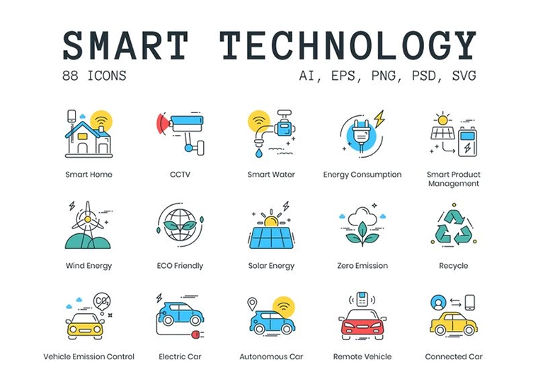 88 Smart Technology Icons - ColorPop Series Iconset Template