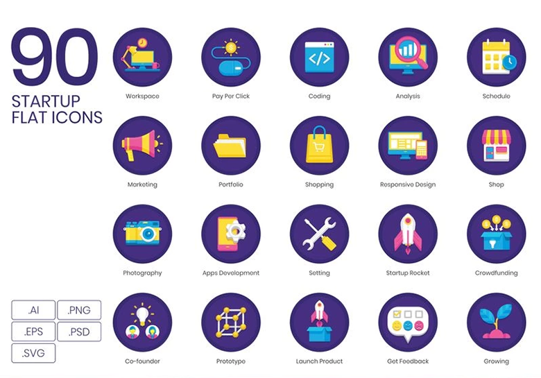 90 Startup Icons - Orchid Series Iconset Template