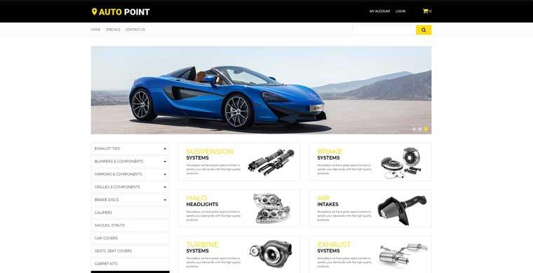 Auto Point - Auto Parts eCommerce Clean OpenCart Template