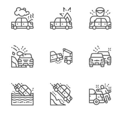 Set Of Car Accidents Line Icons