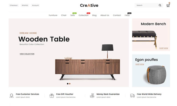 Creative Wood And Furniture Shopify Theme