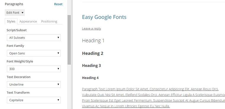 Easy Google Fonts.
