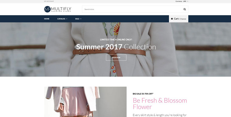 Multifly - Fashion Store Free Elegant Shopify Theme.