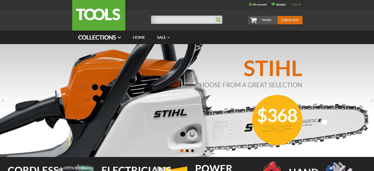 Tools - Tools & Equipment Free Clean Shopify Theme.