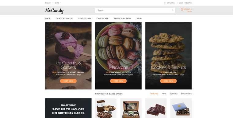 Ms.Candy - Sweet Shop Modern OpenCart Template