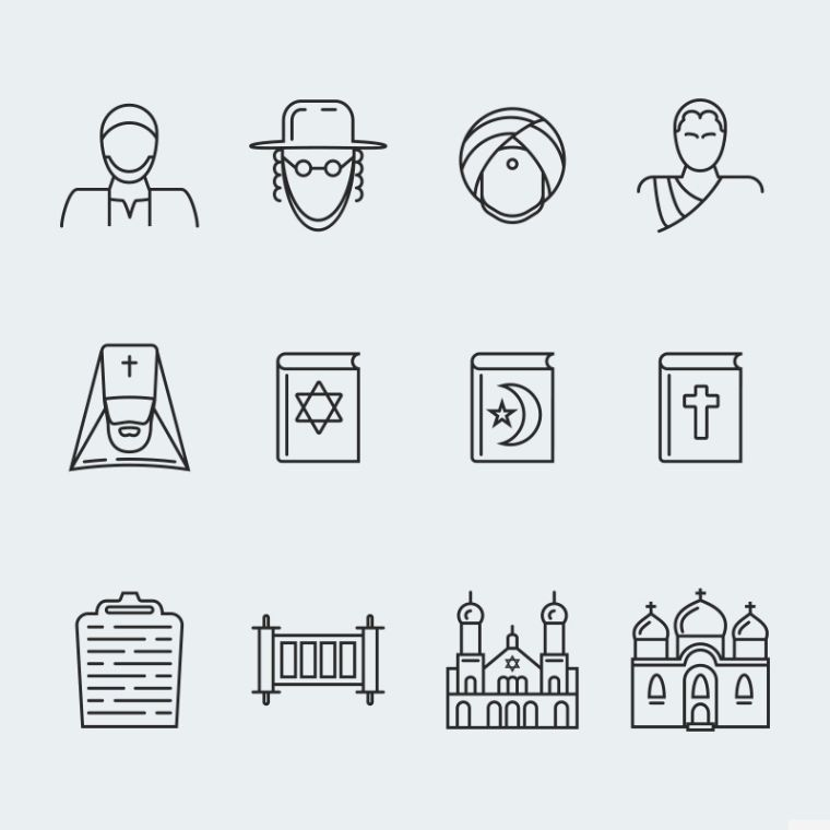 Religion Vector Iconset Template (vol.1)