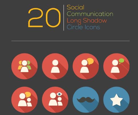 Social Communication Long Shadow Circle Iconset Template