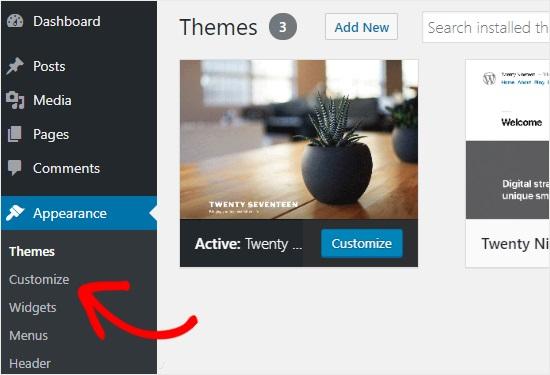 WordPress Customizer method.