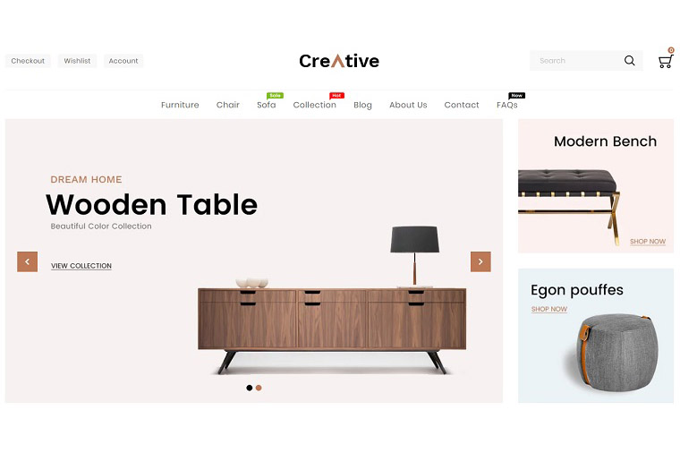 Creative Wood And Furniture Shopify Theme.