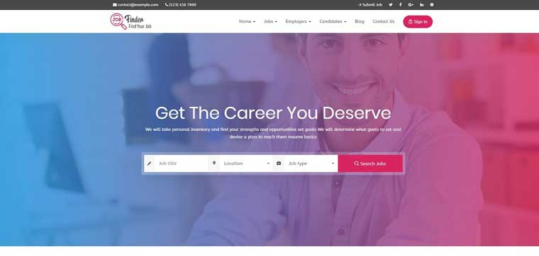 Stylish Jobfinder Package WordPress Theme