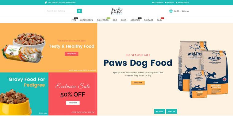 Paws Pet Store Shopify Theme.