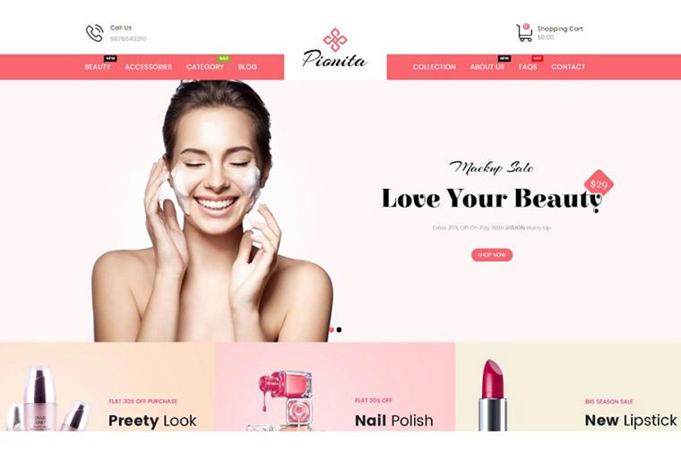 Pionita Cosmetics Shopify Theme.