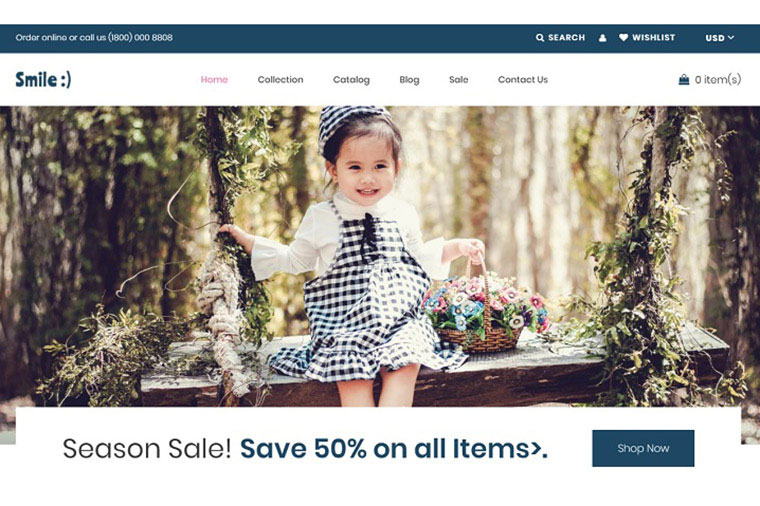 Smile - Simple Baby Clothing Store Shopify Theme.