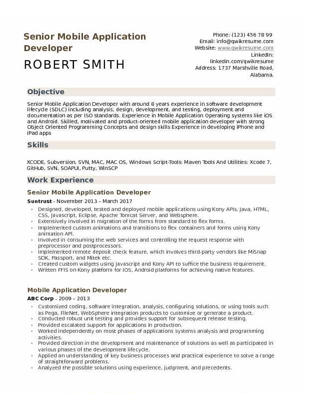 Android Developer Resume Example 5.