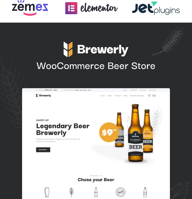 #9 Brewerly - Engaging And Multifunctional Beer Shop Template WooCommerce Theme