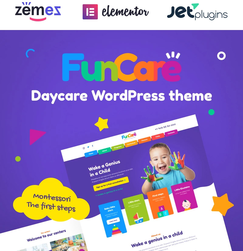 #5 FunCare - Bright And Enjoyable Daycare Website Design Theme WordPress Theme