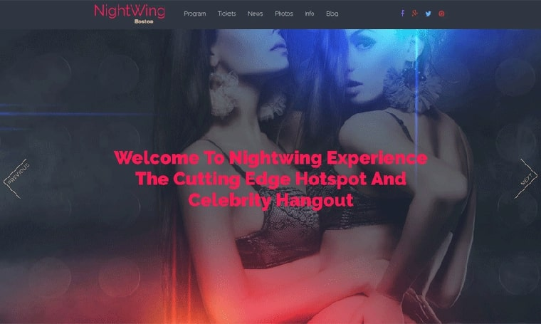Night Club adult web design Moto CMS 3 Template