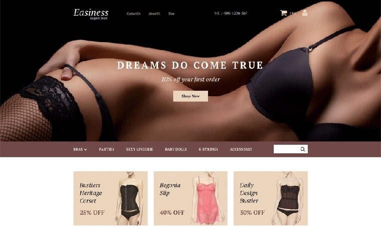 Lingerie Adult Web Design MotoCMS