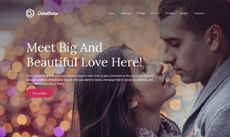 Dating Premium Moto CMS 3 Template