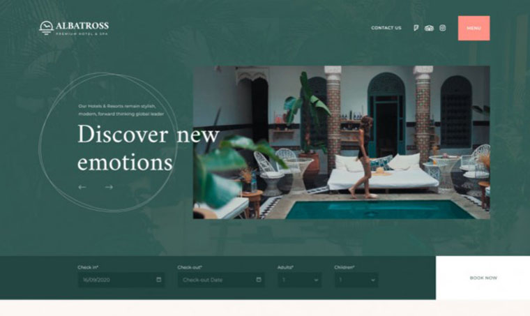 Albatross - Free Elementor Template for Hotels