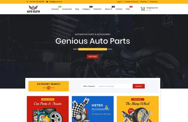 Auto Gusto Automobile Parts Shopify Theme