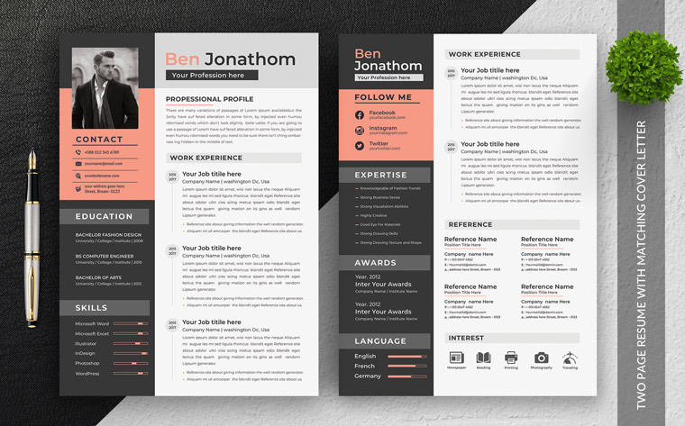 Ben Jonathon Editable Office Manager Resume Template