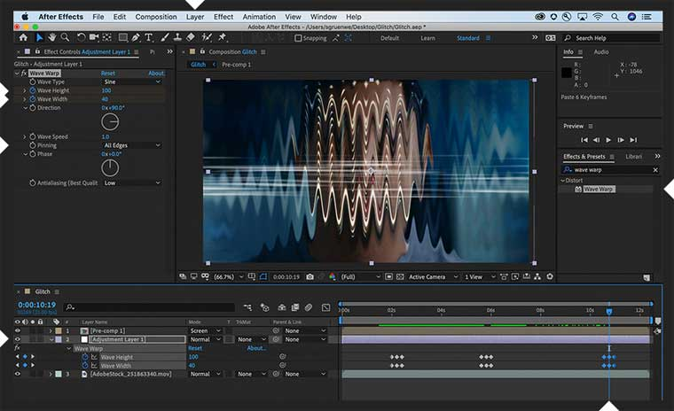 Glitch Effect in After Effects step 5.