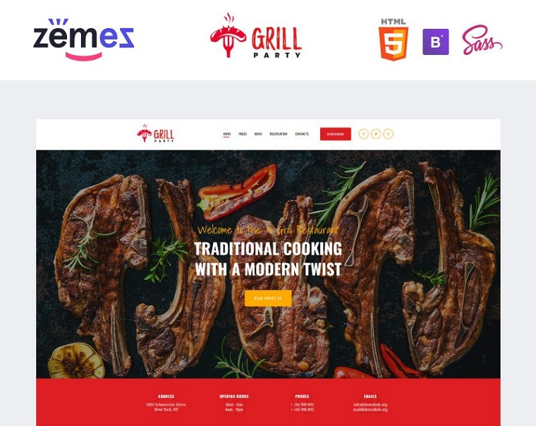 GrillParty - Barbecue Restaurant Website Template.