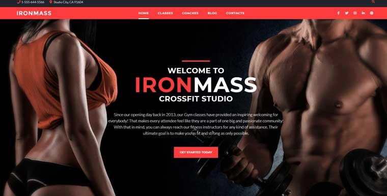 IronMass - Gym Fitness & Bodybuilding Elementor WordPress Theme.