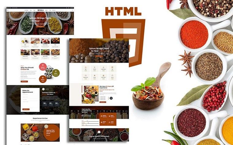 Masala Organic Spices Responsive Shop Website Template.