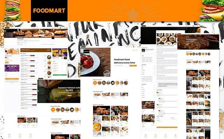 Restaurant listings & Food Delivery HTML5 | FoodMart Website Template.