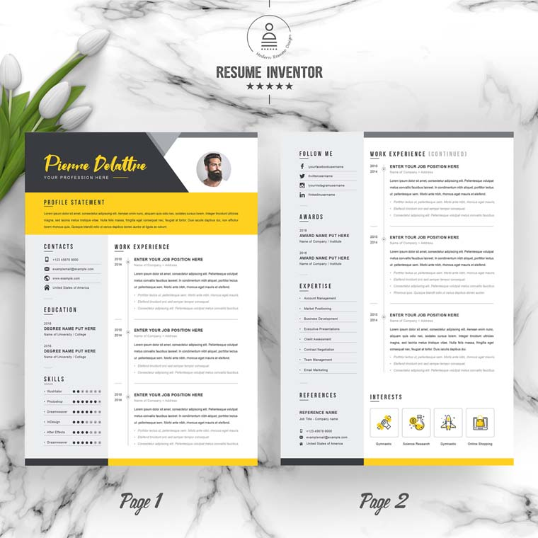 Yellow for Pierre Delatree Resume Template