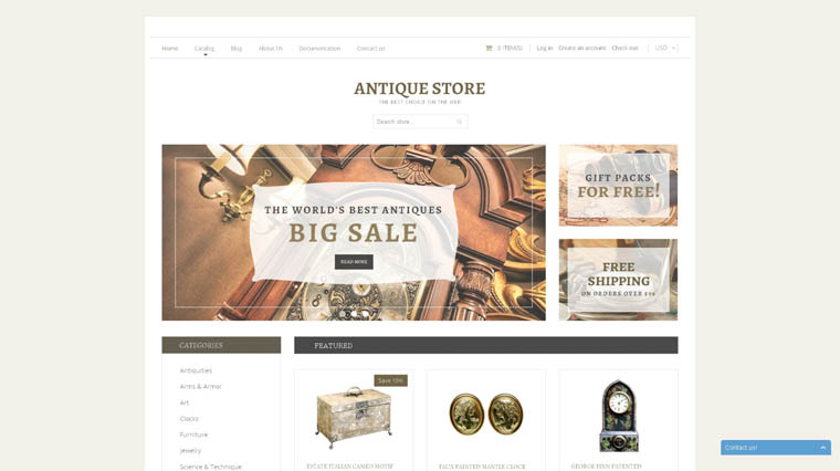 Antique Store Responsive Shopify Theme