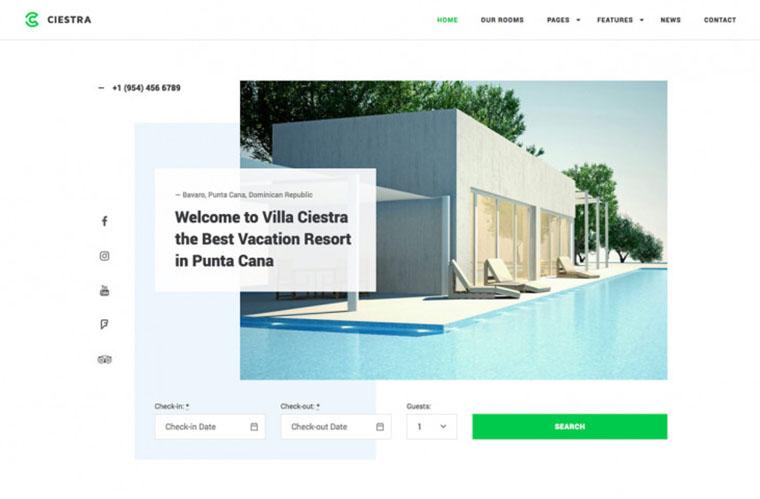 Ciestra Hotel WordPress Theme