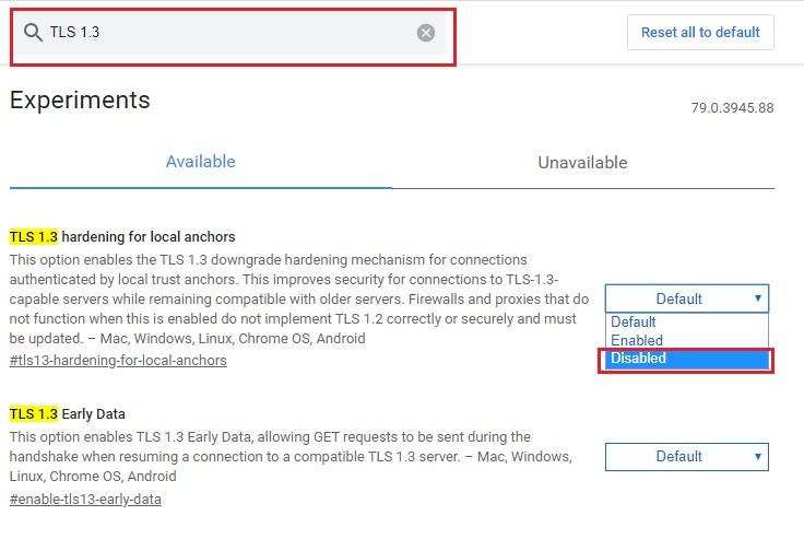 Disabling TLS 1.3.