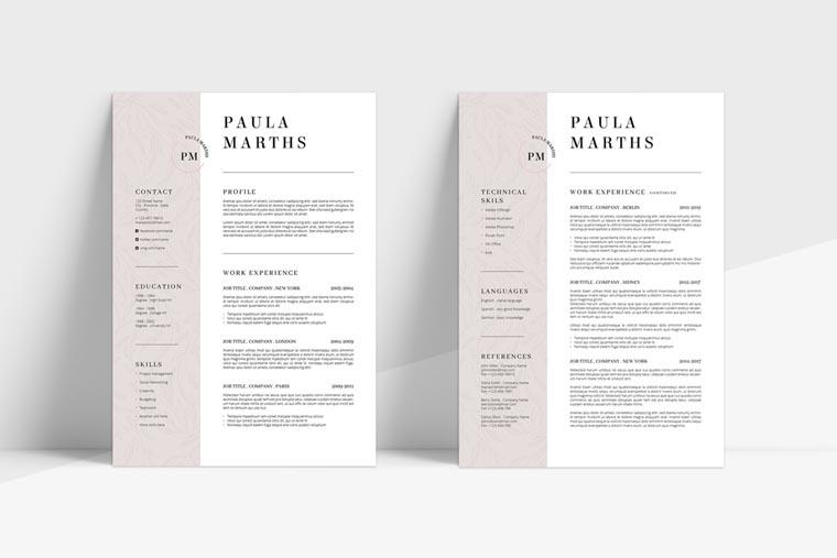 FLORAL CV + Cover Letter Resume Template.