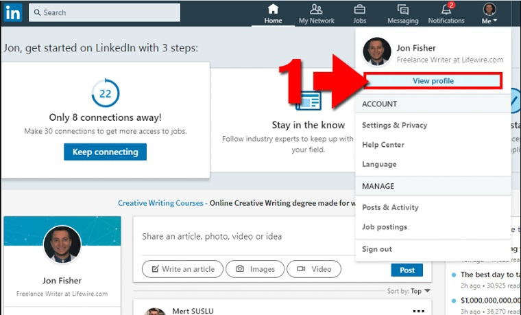 Get a Link to Your LinkedIn Page.